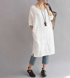 Women Cotton long Leisure large size dress
