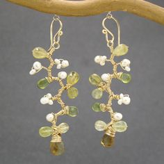 Branch earrings ivory pearls and green garnet Guenevere 66 - pinned by pin4etsy.com