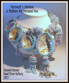 Beaded Statement Necklace peyote stitch Tutorial - Mermaid's Abalone Beaded Collar  INSTRUCTIONS PATTERN by HannahRachel on Etsy https://www.etsy.com/listing/119485533/beaded-statement-necklace-peyote-stitch