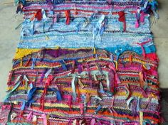 Fibre Art Hand Woven Ribbon Weaving Wall Hanging Textile Art. Love these techniques!