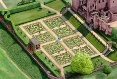 An aerial view of a meticulously recreated Elizabethan garden at Kenilworth Castle.