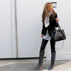 Blazer, leggings, scarf, and boots