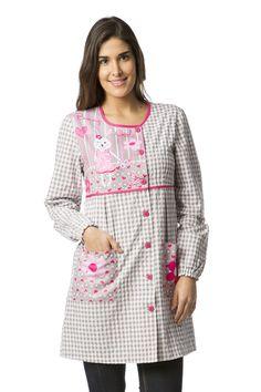 Tunic Blouse, Tunic Tops, Nylons, Blouse Nylon, Corset Pattern, Teacher Style, Scrubs, Dame, Apron