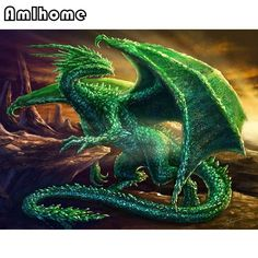 """Full square diy diamond painting """"green dragon"""" home decoration mosaic cross stitch diamond embroidery wall sticker Dragon Vert, Green Dragon, Fantasy Creatures, Mythical Creatures, Emerald Dragon, Emerald Green, Cartoon Dragon, Dragon's Lair, Dragon Crafts"""