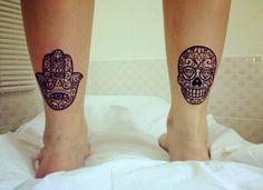 Hamsa & sugarskull tattoo.