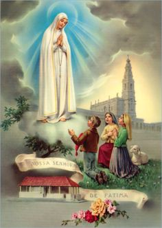 "allaboutmary: "" Nossa Senhora de Fatima A holy card of Mary appearing in Fatima in 1917. """