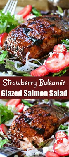 Eating healthy has never tasted better! This succulent baked salmon cooked and topped with flavorful strawberry balsamic glaze and served on a crisp salad. #salmon #balsamic #salad #strawverry #seafood #salad #healthy