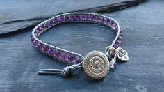 Silver leather and amethyst gemstone bracelet, February birthstone £12.00