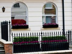 Window Box Company - bespoke metal window boxes, custom window boxes London, design and installation of window boxes, gardens planters Vertical Garden Planters, Diy Planters Outdoor, Window Planters, Metal Planters, Flower Planters, Outdoor Gardens, Front Gardens, Metal Window Boxes, Window Box Flowers