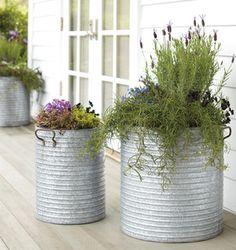 For the back patio but with lemon grass to keep away the mosquitos! For the back patio but with lemon grass to keep away the mosquitos! Outdoor Planters, Garden Planters, Garden Art, Outdoor Gardens, Planter Pots, Herb Garden, Garden Ideas, Galvanized Planters, Metal Planters