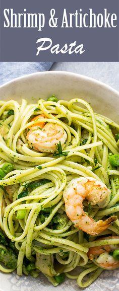 Shrimp and Artichoke Pasta! 30 min, EASY With basil pesto and peas. A ...