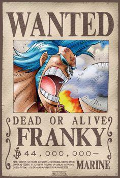Póster One Piece. Franky, Se Busca Póster con la imagen de Franky Se Busca, personaje del manga y anime japonés One Piece.