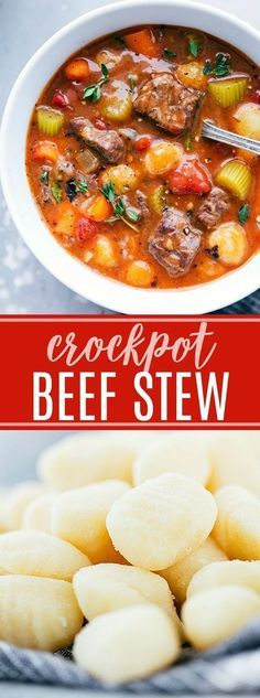 The ultimate BEST EVER crockpot beef stew with gnocchi! Recipe via chelseasmessyapro...   #beef #stew #crockpot #slowcooker #gnocchi #best #dinner #soup #easy #delicious #familyfriendly #carrots #celery