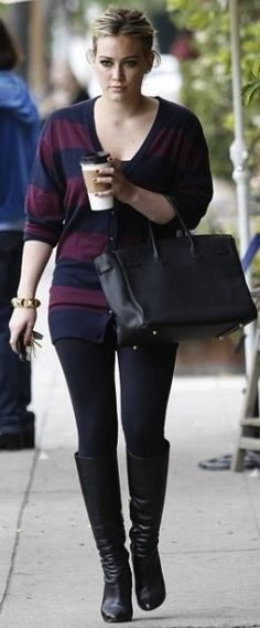Hilary Duff - comfy top, leggings, and boots