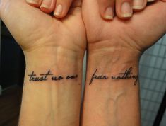 Trust no one fear nothing forearm tattoo quotes, tattoo script, tattoo fonts, body Forearm Tattoo Quotes, Tattoo Script, Tattoo Fonts, Finger Tattoos, Body Art Tattoos, New Tattoos, Small Tattoos, Tatoos, Stylist Tattoos
