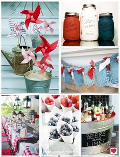 Fourth of July Wedding and Party Decor Ideas, Red White and Blue Wedding and Party Inspiration