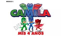 pj masks logo personalizado imprimible héroes en pijamas