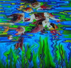 """""""Carp reflections"""" I have just sold this panel, it is the second one I have done but the colours in this one were on a blue green and gave quite a different feel. For a unique hand painted panel to hang get in touch. www.theglassorchard.com"""