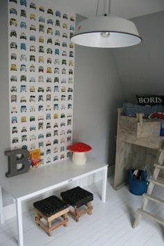 Behang Auto's? De leukste Verf & Behang voor de kinderkamer bij Saartje Prum.