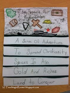 early exploration foldable. This format can be used in any social studies or science unit of study that has multiples causes or elements