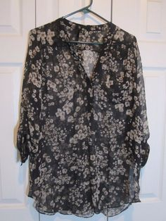 Bellatrix 3/4 sleeve blouse black and brown floral  NWOT Size L Silk Career #Bellatrix #Tunic #Career