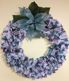 16 blue pink and silver Christmas Wreath by PensPreciousTreasure