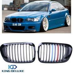 52.59$  Know more - http://aia27.worlditems.win/all/product.php?id=32558026088 - 2015 1set Top Quality Gloss Black M-color Kidney Grills Front Grille For BMW E46 3 Series 2D 1999-2006 + Box Car Styling #P194