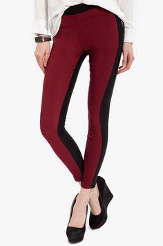 Contrast Color Leggings $36 at www.tobi.com