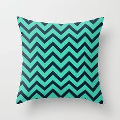 Mint Navy Chevron Throw Pillow
