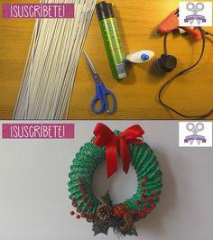 Hermosa corona navideña  con papel periódico Christmas Projects For Kids, Christmas Yard, Christmas Deco, Diy Christmas Gifts, Navidad Diy, Diy Gifts, Diy Wedding, Craft Projects, Crochet Earrings
