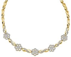 14kt Yellow Gold Womens Round Diamond Infinity Flower Cluster Necklace 2.00 Cttw 30098
