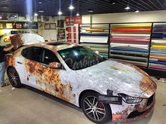 white rusty design sticker vinyl wrap car sticker bomb new for your whole car body!