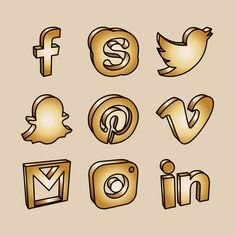 Golden social media vector icons that can be used for webdesign, app design, posters, newsletters