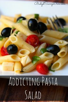 The MOST amazing Pasta Salad for Summer - Perfect and Simple -- plus the recipe shows you how to make it gluten free. My family loved the recipe. Addicting Pasta Salad Recipe #pasta #salad #pastasalad #glutenfree #glutenfreepasta #budgetsavvydiva via budgetsavvydiva.com
