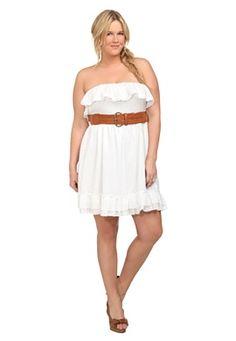 Plus Size White Swiss Dot Strapless Dress