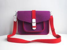 CHRISTMAS SALE Purple Lilas Red White Wool Felt Genuine Leather Messenger Crossbody Bag on Etsy, $85.00