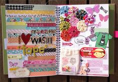 Double page layout: washi tape on left, journaling on right, small embellishments