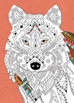 Felicity French - Wolf Colouring #adult #colouring