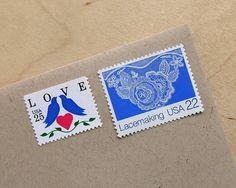 Vintage unused - Love and Lace - postage stamps to post 5 letters - or use in scrapbooking and crafts