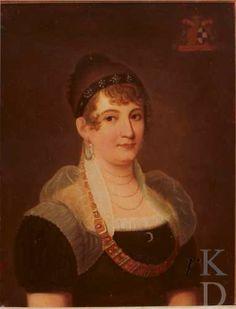 Portret van Maria Anna Joanna Josepha van Schueren (1778-1813) Stichting Geldersche Kasteelen, inv./cat.nr. 2361 .   Interesting painting, because of how she wears her neckless and fichu !!!!!!!