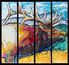 8ft x 9ft acrylic and ink on board.  Painted in conjunction with Rocky Mountain Elk Foundation and Elk 101 at Art on the Green in CDA summer 2013.  Time lapse video as well: http://vimeo.com/73307732?utm_source=email&utm_medium=clip-transcode_complete-finished-20120100&utm_campaign=7701&email_id=Y2xpcF90cmFuc2NvZGVkfDE3ZWM3YmNjMzE3ZjIyMmFlNGEwYjQxZjE0Njc5ZTdkMTUxfDE0MzA1Njl8MTM3NzcwMjk1OQ%3D%3D