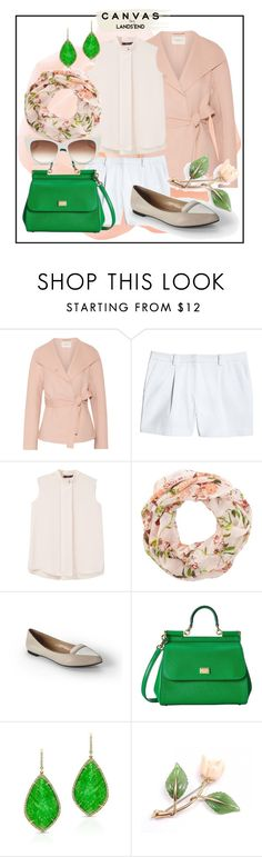 """""""Paint Your Look With Canvas by Lands' End: Contest Entry - Green Flowers"""" by elimarga ❤ liked on Polyvore featuring Lands' End, Halston Heritage, Canvas by Lands' End, MANGO, New Look, Dolce&Gabbana and Thierry Lasry"""