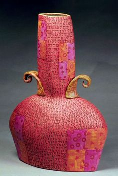 Tiny Giant – #ceramic vessel – by Connie Norman.  I love the colors and its whimsical nature.