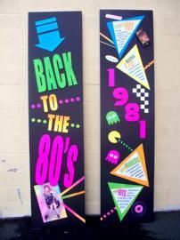 1980s theme party ideas | ... Custom Event centerpieces for 80s party High School Reunion Prom