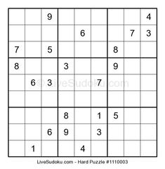 Hard Sudoku puzzle number This Sudoku is a bit more difficult than what people are used to solve. Use our tutorials to learn advanced Sudoku techniques to solve this one. Hard Puzzles, Sudoku Puzzles, Logic Puzzles, Puzzles For Kids, Printable Crossword Puzzles, English Worksheets For Kids, English Writing Skills, Same Love, School