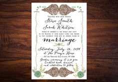 From Our Heart To Yours // Bohemian Wedding Invitation for a Barn Wedding, Rustic Wedding, Summer Wedding, Garden Wedding