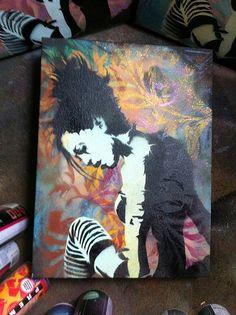 Spray paint stencil art on canvas, overalay of a brain? Spray Paint Stencils, Stencil Art, Arts Ed, Striped Socks, Gcse Art, Art Club, Types Of Art, Figurative, Wallpaper Backgrounds
