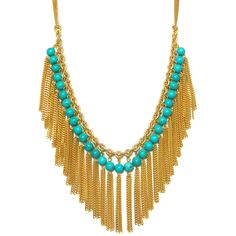"Rachel Reinhardt ""Caroline"" 14k Gold Plated Dramatic Collar Necklace with Turquoise Beads and Tassels : Rachel Reinhart"