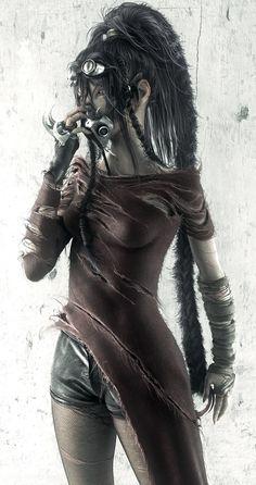Futuristic Look / Post-Apocalyptic Girl, Cyberpunk, Dark Fashion, Dystopian Fashion, Trash Fashion, Survival, Cyberpunk goggles, girl in mask, ROD_V by *Wen-JR on deviantART