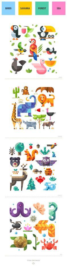 Magic animal world, geometric flat on Behance ¡Una muy buena Idea de impresión para el cuarto de tus hijos! ---> http://www.insta-arte.com.mx :3: